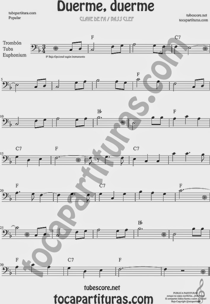 Duerme Duerme Partitura Popular de Trombón, Tuba Elicón y Bombardino Sheet Music for Trombone, Tube, Euphonium Music Scores