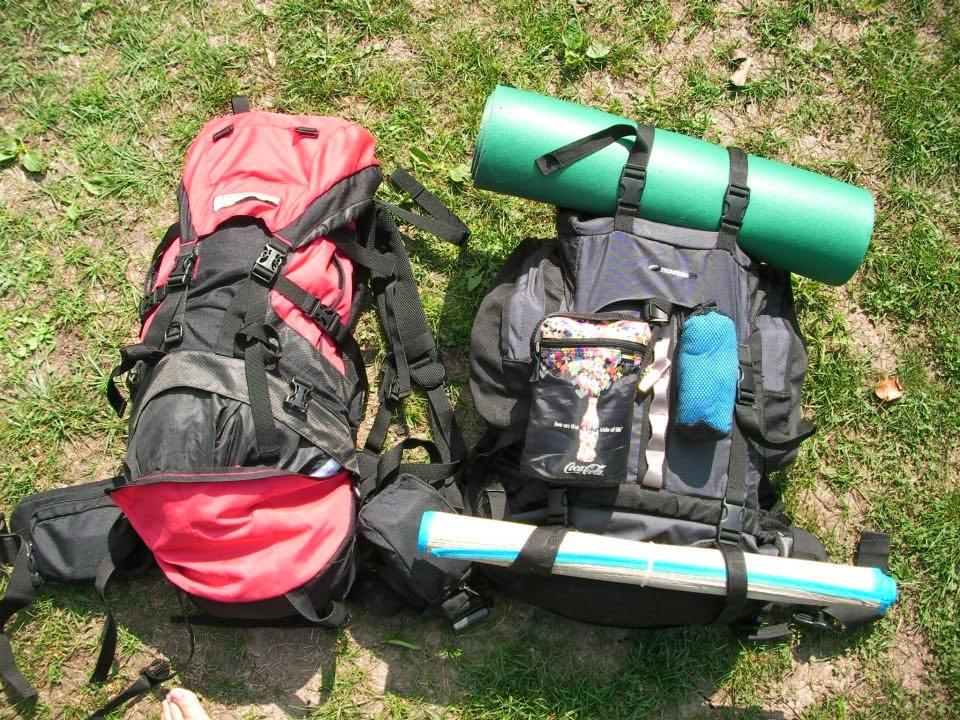 Backpacks at Lake Bled, Slovenia, travel