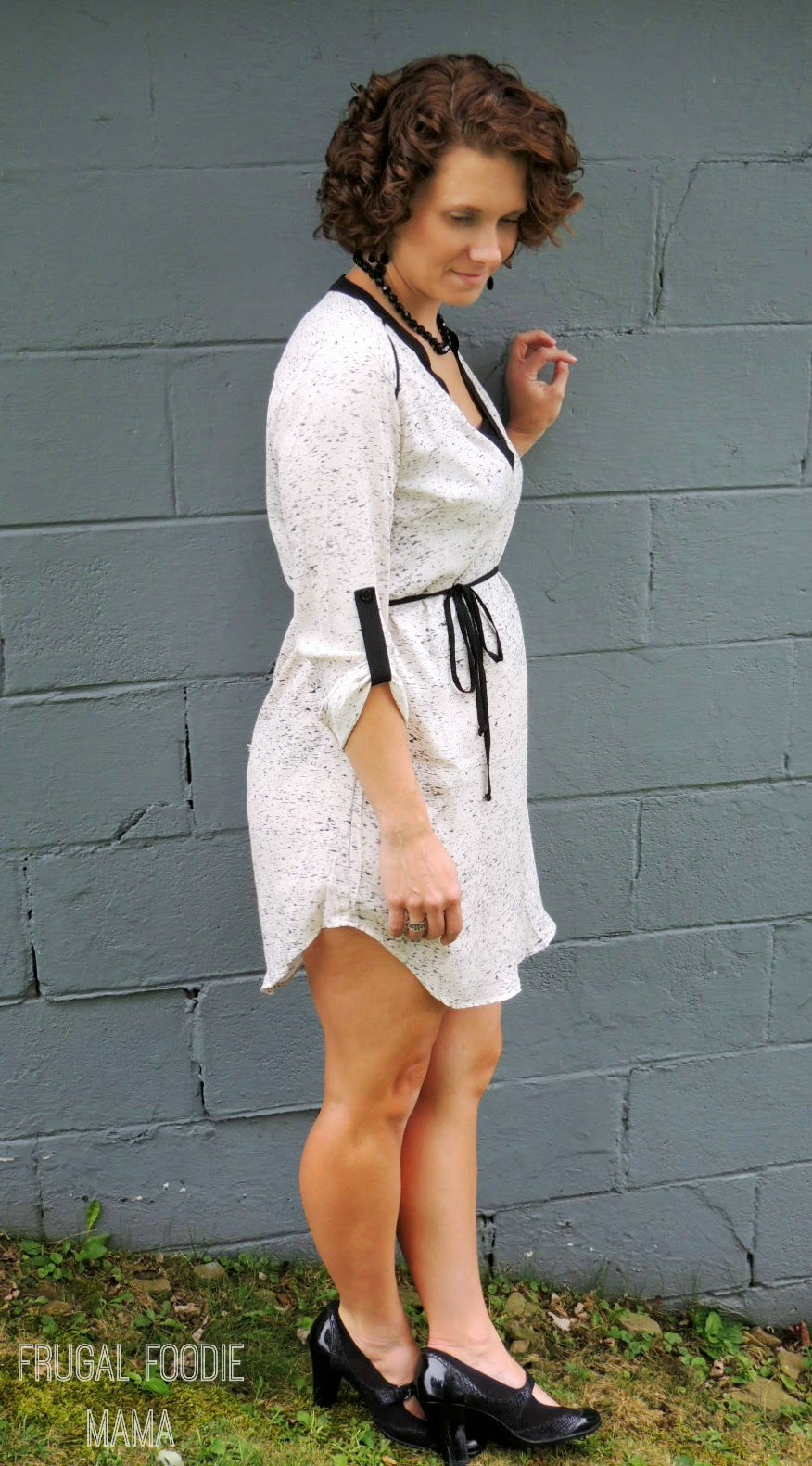 Budget Friendly, NYC Chic Fall Fashion from Necessary Clothing via thefrugalfoodiemama.com - Splatter Shirt Dress
