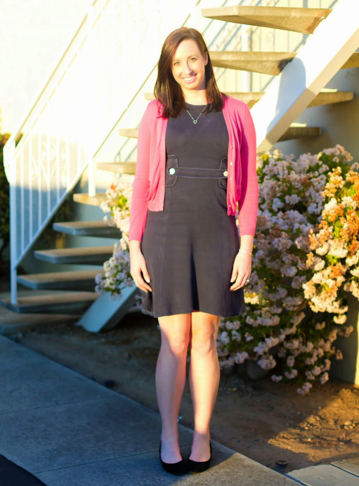 Cardigan with dress: navy blue dress with pink salmon cardigan