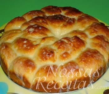 receita de pão doce com cobertura de leite condensado