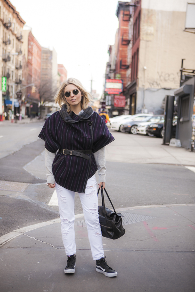 Fashion Over Reason in NYC, Suno poncho, Zara distressed denim, white boyfriend jeans, Vans high top sneakers, leather Vans, Vansgirls