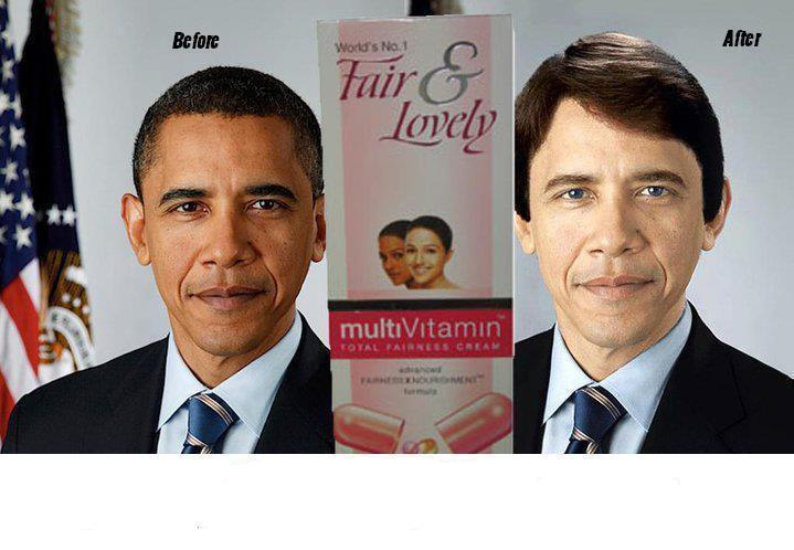 Obama funny photos after he use fair and lovely