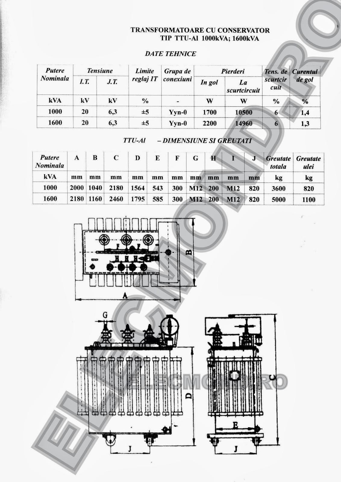 DATE TEHNICE TRANSFORMATOARE CU CONSERVATOR ALUMINIU 1000 kVA 1600 kVA