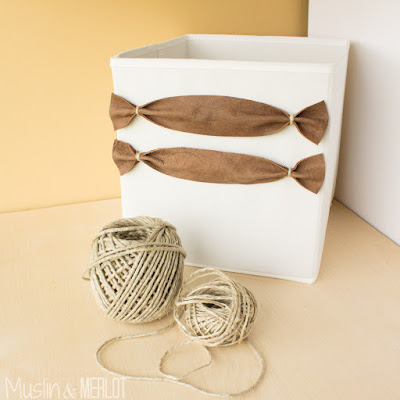 Add Leather Handles To Fabric Storage Bins Muslin And