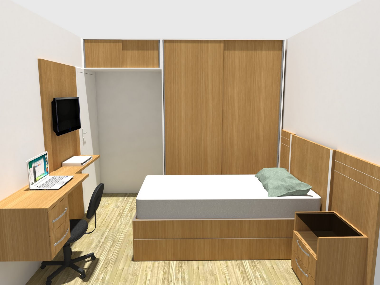 roupas planejado quarto de solteiro de luxo quarto de  ~ Quarto Solteiro Medidas