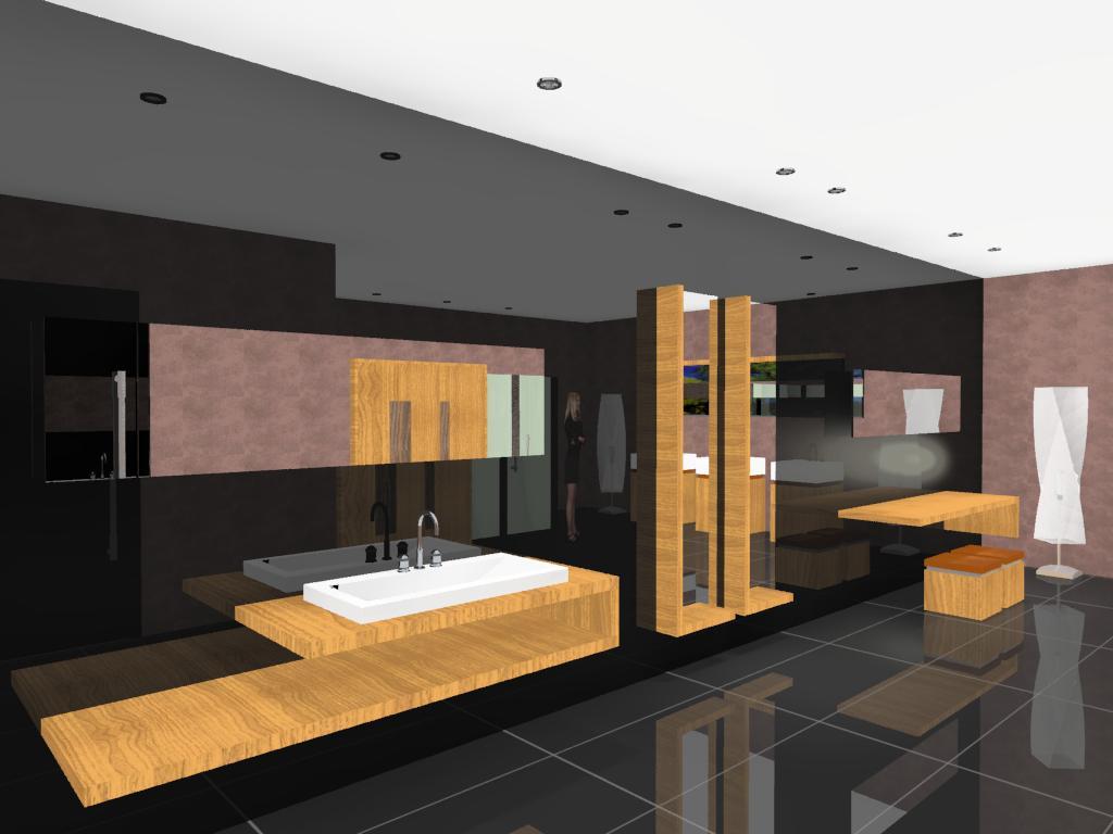 3D VIEW: Projeto de Banheiro para Shopping Center #AC701F 1024 768