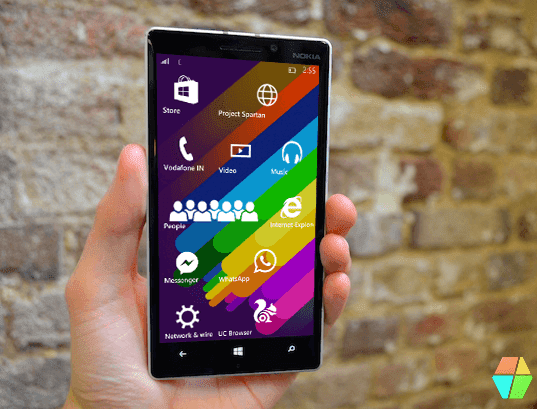 Windows 10 mobile start screen
