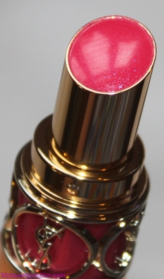 YSL Rouge Volupte Shine Pink Devotion lipstick swatches, review, photos
