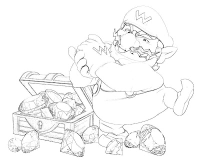 wario coloring pages - pikachu and eevee coloring pages