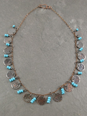 hammered copper & turquoise glass beads Gypsy necklace