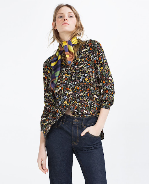 black coloured flower blouse zara,