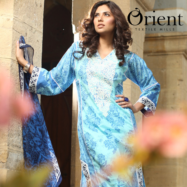 Orient long chiffon dress