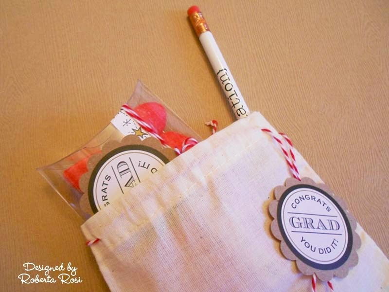 SRM Stickers Blog - Graduation Party by Roberta - #graduation #stickers #pencils #pillow box #muslin bag