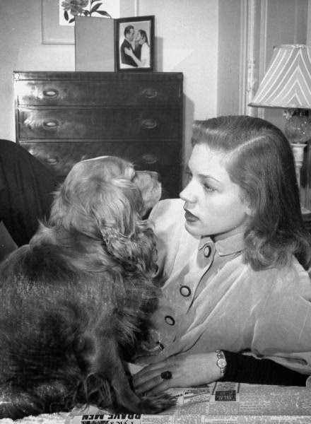 Lauren Bacall with her dog.