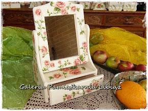 Toaletka z Lustrem Szufladką na Biżuterie Kosmetyki Kwiaty Róże Angielskie