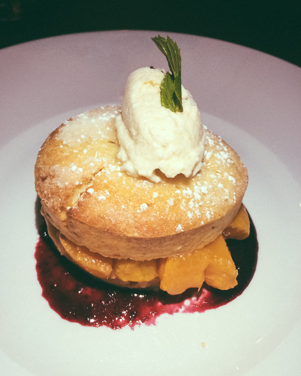 peach shortcake dessert at Josephine in Nashville, Tennessee