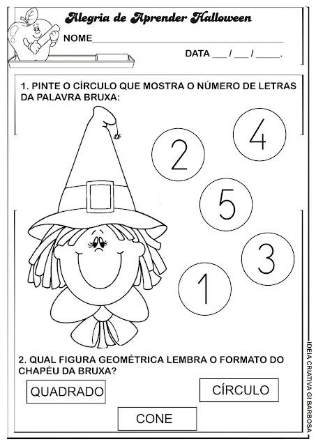 Atividade Matemática Educação Infantil Temática Halloween Chapéu da Bruxa.