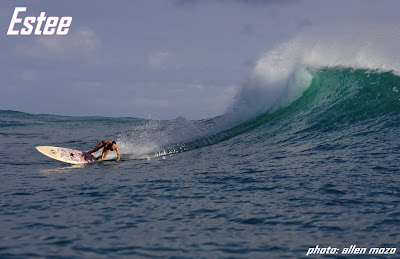 Paddle Surf Hawaii - Estee Okumura - Bottom Turn on a Paddle Surf Hawaii Wood Veneer Hull Ripper
