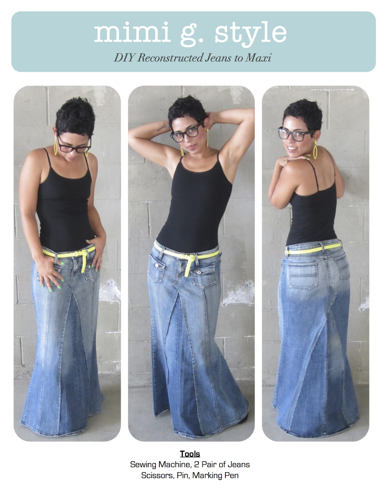 Diy Tutorial Reconstructed Jeans To Fabulous Maxi