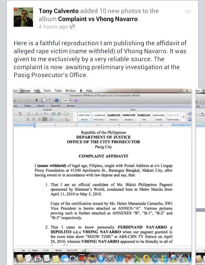 Fashion Pulis Fb Scoop Affidavit Of Alleged Rape Victim Of Vhong Navarro