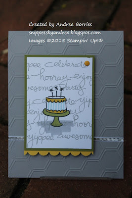 Birthday card made with Endless Birthday Wishes stamp set. Stamp the words to create a background and add the cake as the focal point.
