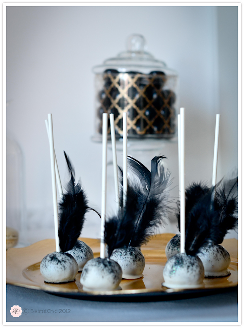 New Year's Eve party gold and black cake pop feathers from BistrotChic