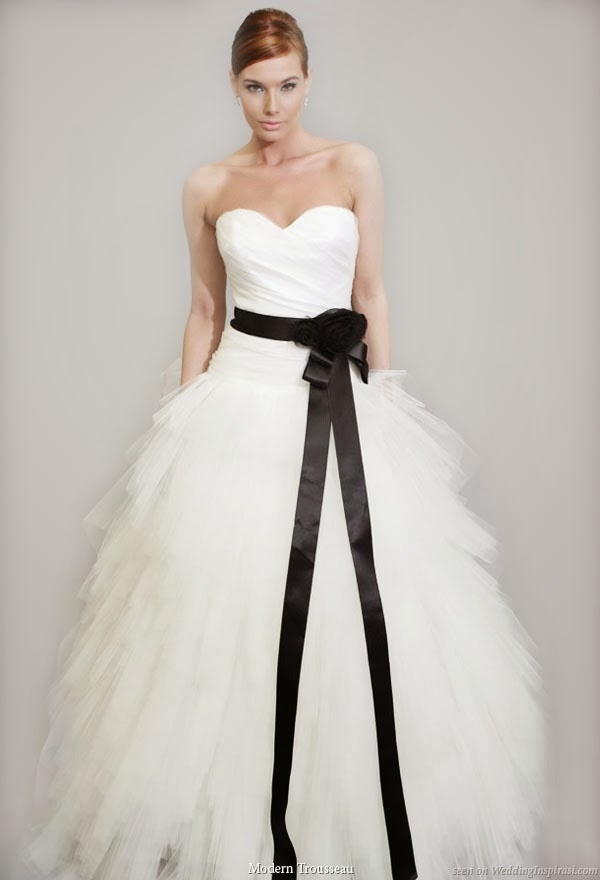 Vip girl dresses white wedding dress with something black for Wedding dress with black belt