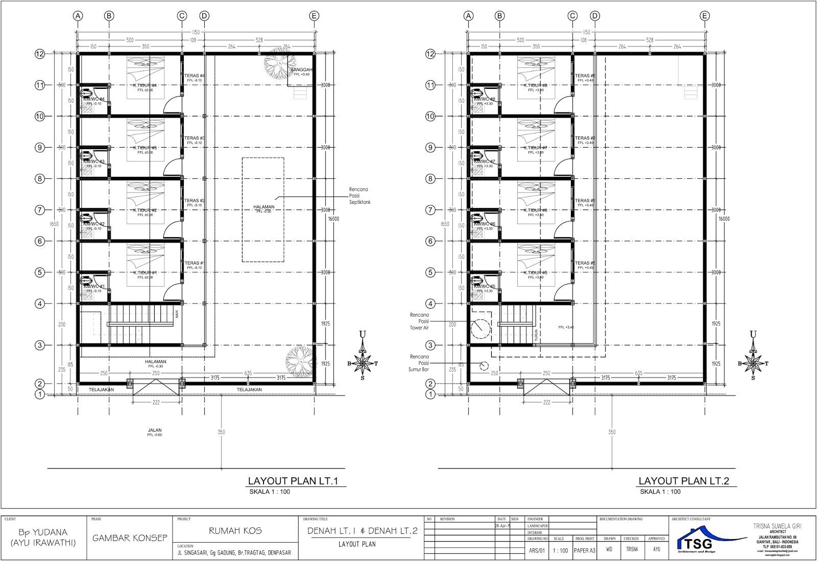 Jasa desain rumah kos denpasar konsep kost Denpasar gambar kost baru