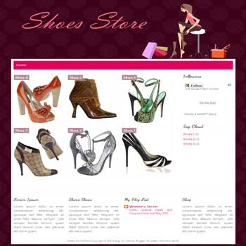 Shoes Online Shop blogger template for personal blog template with cute background. online store template blog for blogger. template blog online store