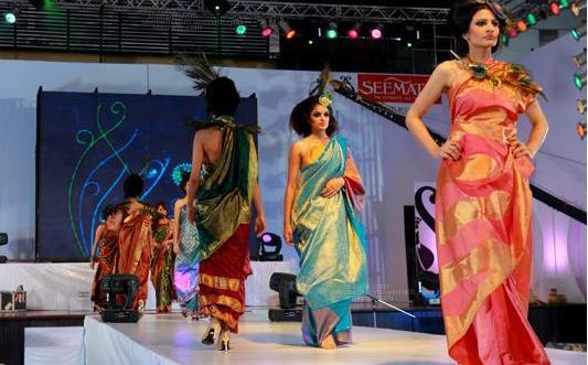 Fashion show held at cochin in the 100 th anniversary celebration of seematti silks