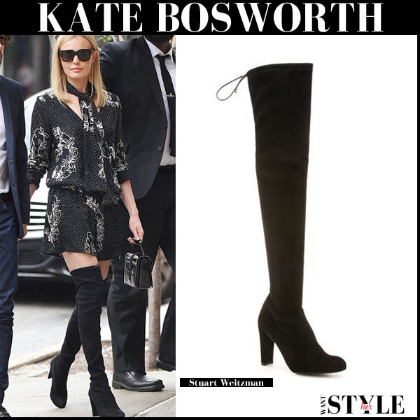 Kate Bosworth in black suede thigh boots from Stuart Weitzman september 10 fall streetstyle trend