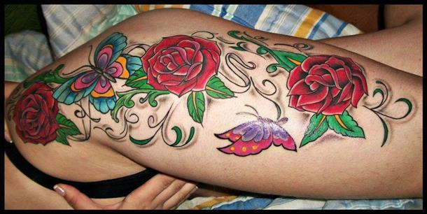 tatuagem de rosa na cocha,fotos,tattoo