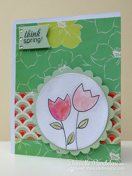 Tulip card by Danielle Pandeline for Newton's Nook Designs - Easter Scramble Stamp set