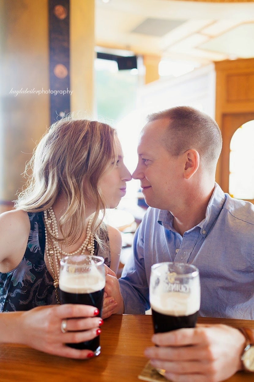 pub engagement session photo
