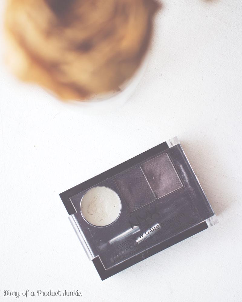 NYX Eyebrow Cake Powder on a white wooden surface