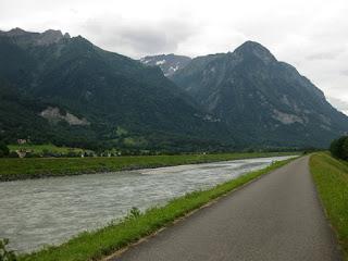 Paved path along the Rhine River, Liechtenstein.