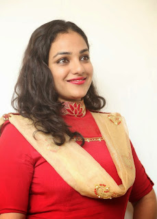 Nithya Menon Pictures in Red Salwar Kameez at Oke Bangaram Interview ~ Celebs Next