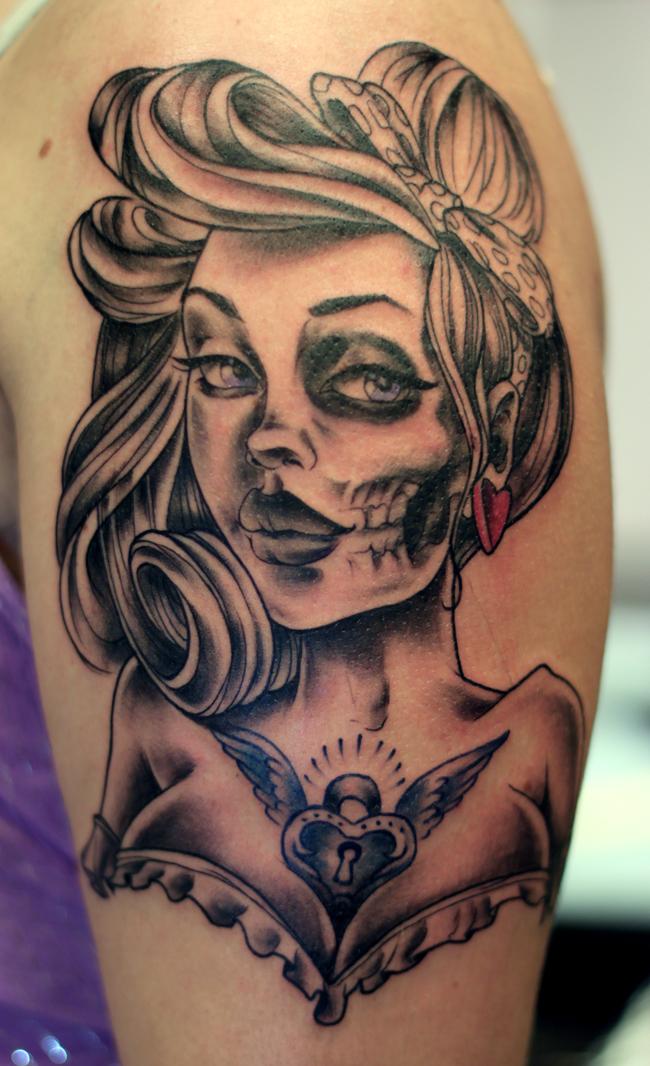 pin up sugar skull tattoo the image kid has it. Black Bedroom Furniture Sets. Home Design Ideas