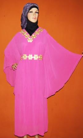 Gamis Hicon Warna Pink Gp060 Aplikasi Bordir Tempel