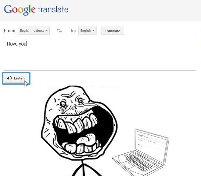 More funny | Meme | Rage Comics: Google translate - I love you ...
