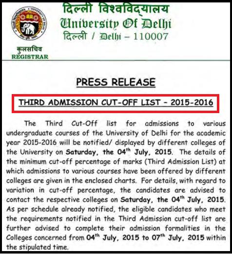 Delhi University-DU UG Admission 2015 College Wise 3rd Merit List & Counseling Schedule