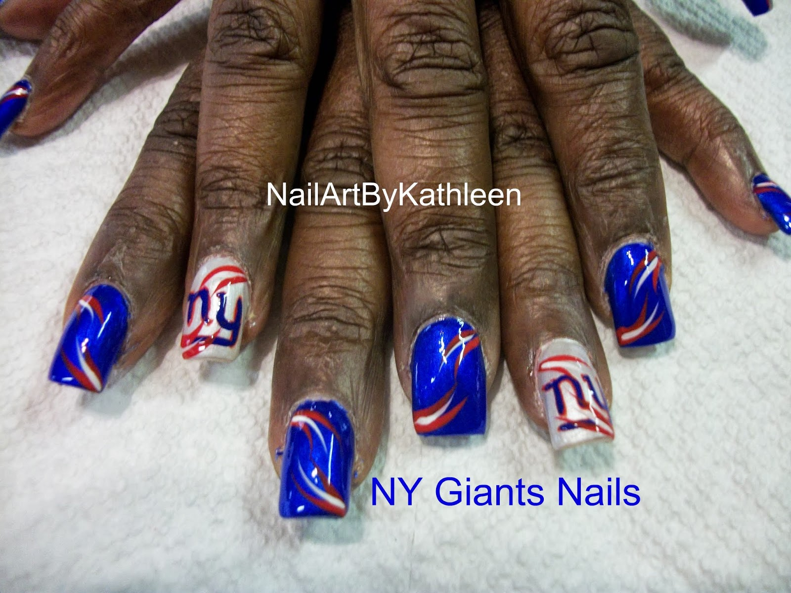 Ny Giants Nails Football Nail Art