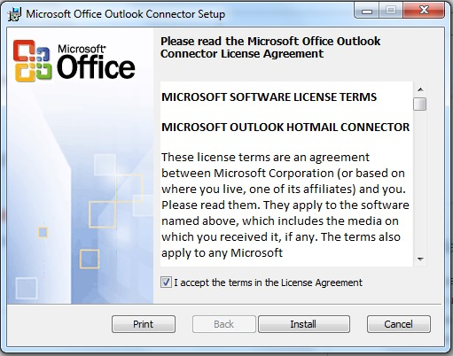 Install Outlook Connector