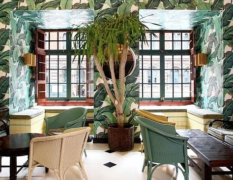 tropical wallpaper at Indochine NYC