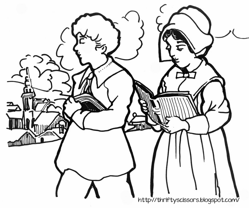 a coloring page of pilgrim children