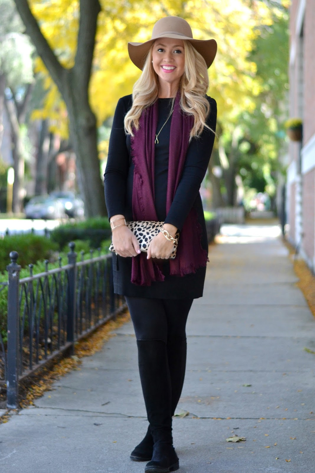 fall-outfit-with-black-suede-over-the-knee-boots