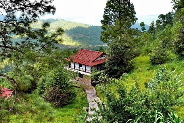 Enjoy scenic Himalayan views from Kalmatia Sangam.