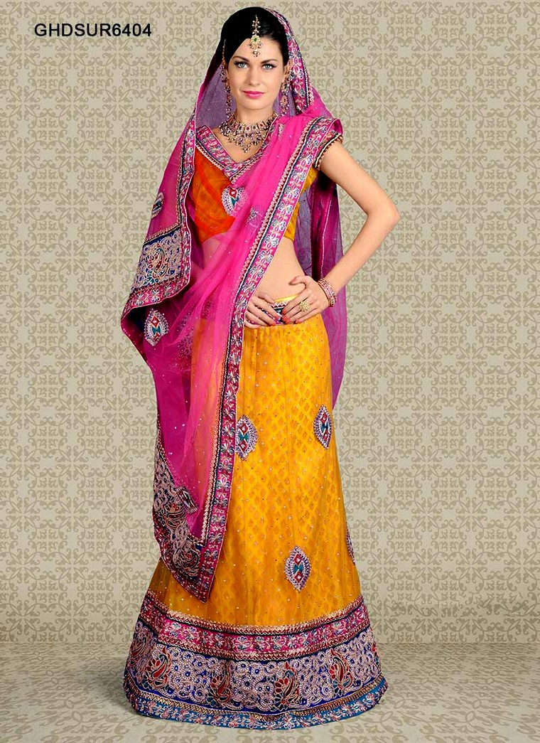 Mehndi Lehenga For Bride : Mehndi occasion bridal lehenga for