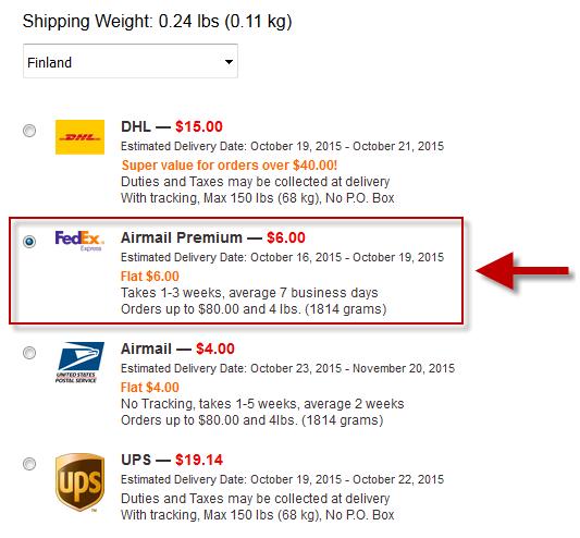 Airmail Premium rahtivaihtoehto, jossa kuriirina FedEx